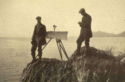 Plane table crew in Prince William Sound area. Crew off of TAKU (1910, Family of Captain Gilbert T. Rude, C&GS). Coast and Geodetic Survey Historic Images.